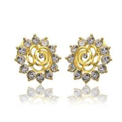 Vienna Jewelry 18K Gold Snowflake Earrings with Crystals Made with Swarovksi Elements - Thumbnail 0