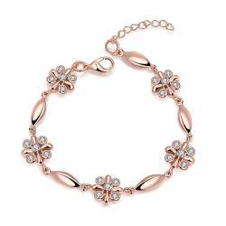 Vienna Jewelry 18K Rose Gold Rose Petals Emblem Bracelet with Austrian Crystal Elements - Thumbnail 0