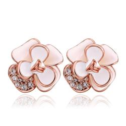 Vienna Jewelry 18K Rose Gold Double Ivory Covering Floral Petal Stud Earrings Made with Swarovksi Elements - Thumbnail 0