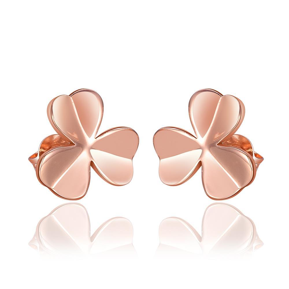 Vienna Jewelry 18K Rose Gold Clean Plate Clover Shaped Stud Earrings Made with Swarovksi Elements