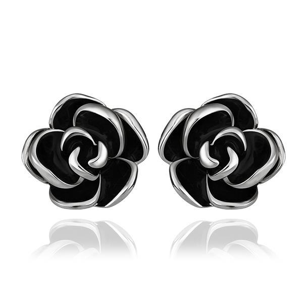 Vienna Jewelry 18K White Gold Floral Petals with Onyx Inlay Made with Swarovksi Elements