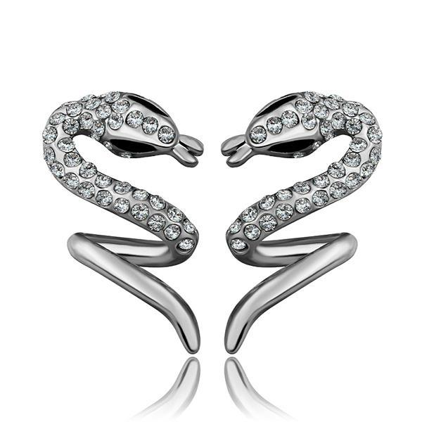 Vienna Jewelry 18K White Gold Spiral Slithering Snake Drop Down Earrings Made with Swarovksi Elements
