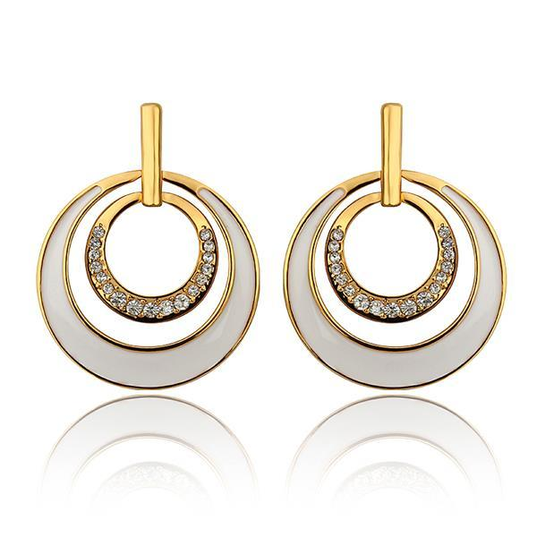 Vienna Jewelry 18K Gold Ivory Layering Spiral Circle Earrings Made with Swarovksi Elements