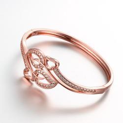 Vienna Jewelry Rose Gold Plated Chevron Cuff Bangle - Thumbnail 0