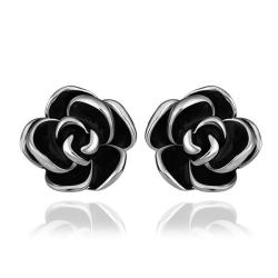 Vienna Jewelry 18K White Gold Floral Petals with Onyx Inlay Made with Swarovksi Elements - Thumbnail 0