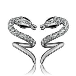 Vienna Jewelry 18K White Gold Spiral Slithering Snake Drop Down Earrings Made with Swarovksi Elements - Thumbnail 0