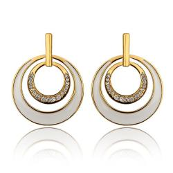Vienna Jewelry 18K Gold Ivory Layering Spiral Circle Earrings Made with Swarovksi Elements - Thumbnail 0