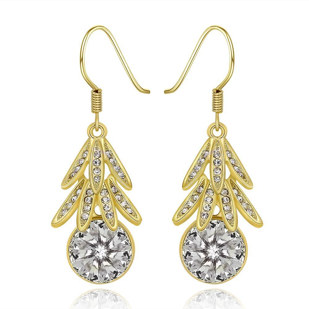Vienna Jewelry 18K Gold Dangling Leaves Drop Down Earrings Made with Swarovksi Elements