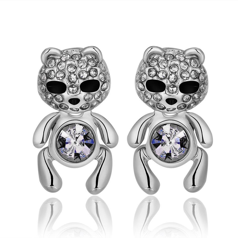 Vienna Jewelry 18K White Gold Petite Teddy Bear Stud Earrings Made with Swarovksi Elements