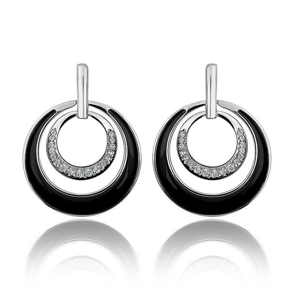 Vienna Jewelry 18K White Gold Onyx Layering Spiral Circle Earrings Made with Swarovksi Elements