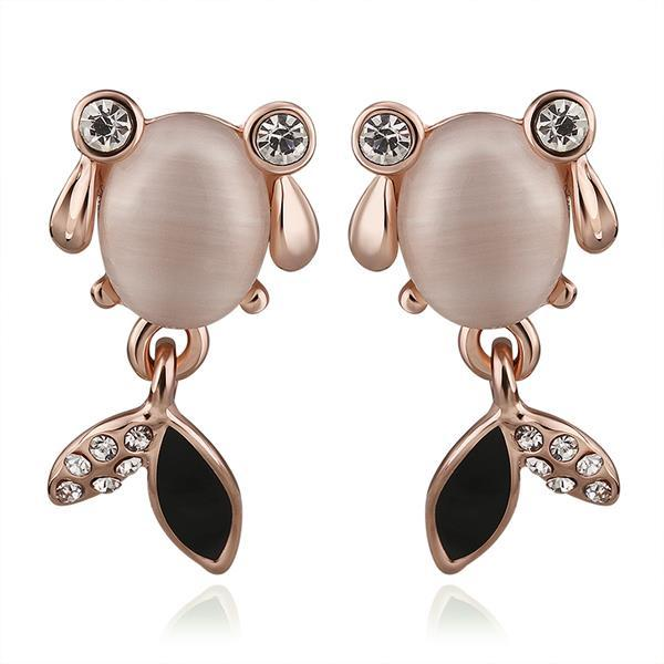 Vienna Jewelry 18K Rose Gold Crystal Fish Stud Earrings Made with Swarovksi Elements