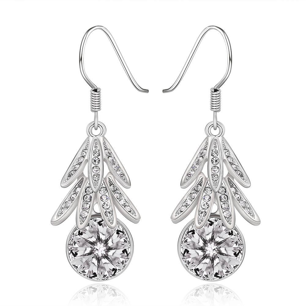 Vienna Jewelry 18K White Gold Dangling Leaves Drop Down Earrings Made with Swarovksi Elements