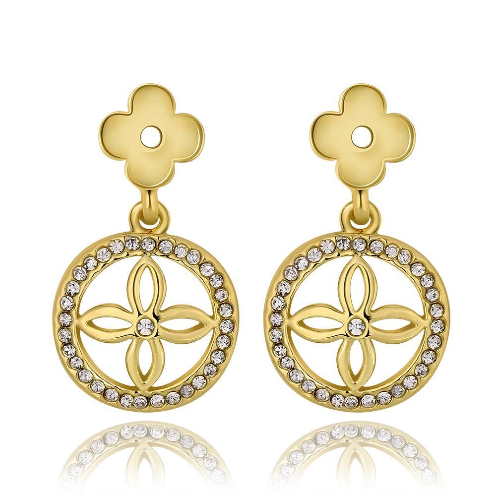 Vienna Jewelry 18K Gold Petite Cross Drop Down Earrings Made with Swarovksi Elements