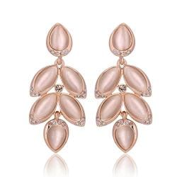 Vienna Jewelry 18K Rose Gold Dangling Rose Petals Drop Down Earrings Made with Swarovksi Elements - Thumbnail 0