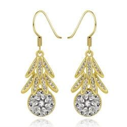 Vienna Jewelry 18K Gold Dangling Leaves Drop Down Earrings Made with Swarovksi Elements - Thumbnail 0