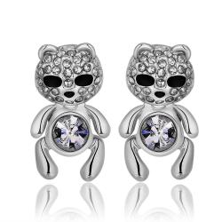 Vienna Jewelry 18K White Gold Petite Teddy Bear Stud Earrings Made with Swarovksi Elements - Thumbnail 0