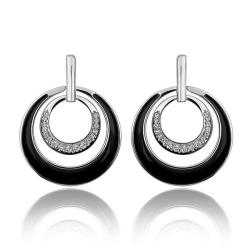 Vienna Jewelry 18K White Gold Onyx Layering Spiral Circle Earrings Made with Swarovksi Elements - Thumbnail 0