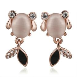 Vienna Jewelry 18K Rose Gold Crystal Fish Stud Earrings Made with Swarovksi Elements - Thumbnail 0