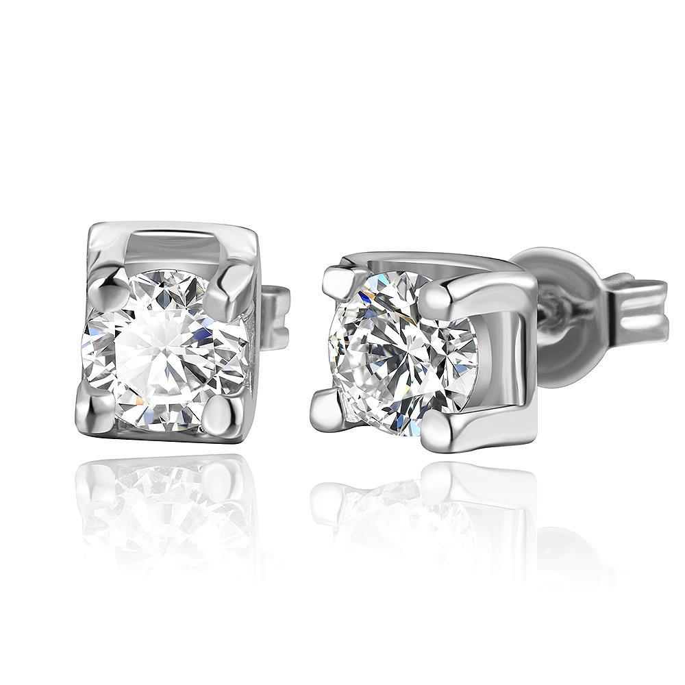 Vienna Jewelry 18K White Gold Classic Stud Earrings with Crystal Gem Made with Swarovksi Elements