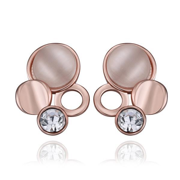 Vienna Jewelry 18K Rose Gold Triple Circles Drop Down Earrings Made with Swarovksi Elements
