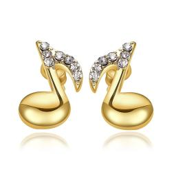 Vienna Jewelry 18K Gold Musical Note Stud Earrings Made with Swarovksi Elements
