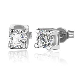 Vienna Jewelry 18K White Gold Classic Stud Earrings with Crystal Gem Made with Swarovksi Elements - Thumbnail 0