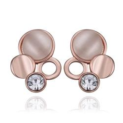 Vienna Jewelry 18K Rose Gold Triple Circles Drop Down Earrings Made with Swarovksi Elements - Thumbnail 0