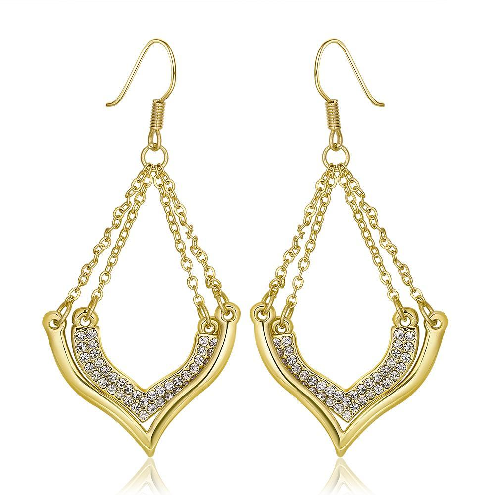 Vienna Jewelry 18K Gold Changelier Style Drop Down Earrings Made with Swarovksi Elements