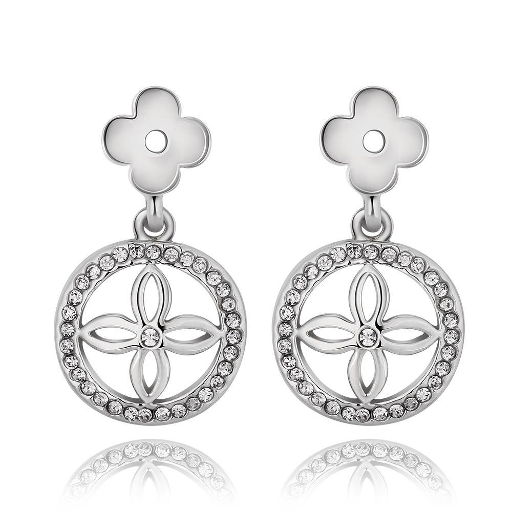 Vienna Jewelry 18K White Gold Petite Cross Drop Down Earrings Made with Swarovksi Elements