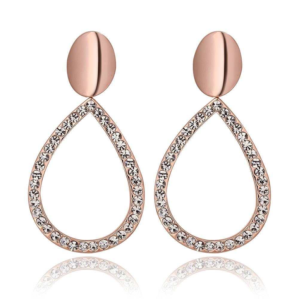 Vienna Jewelry 18K Rose Gold Hollow Classic Drop Down Earrings Made with Swarovksi Elements