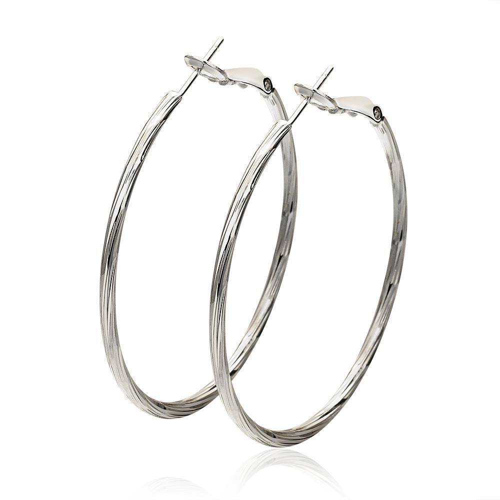 Vienna Jewelry 18K White Gold Thin Lay Hoop Earrings Made with Swarovksi Elements