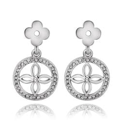 Vienna Jewelry 18K White Gold Petite Cross Drop Down Earrings Made with Swarovksi Elements - Thumbnail 0
