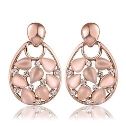 Vienna Jewelry 18K Rose Gold Hollow Drop Down Earrings with Ivory Inlay Made with Swarovksi Elements - Thumbnail 0