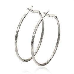 Vienna Jewelry 18K White Gold Thin Lay Hoop Earrings Made with Swarovksi Elements - Thumbnail 0