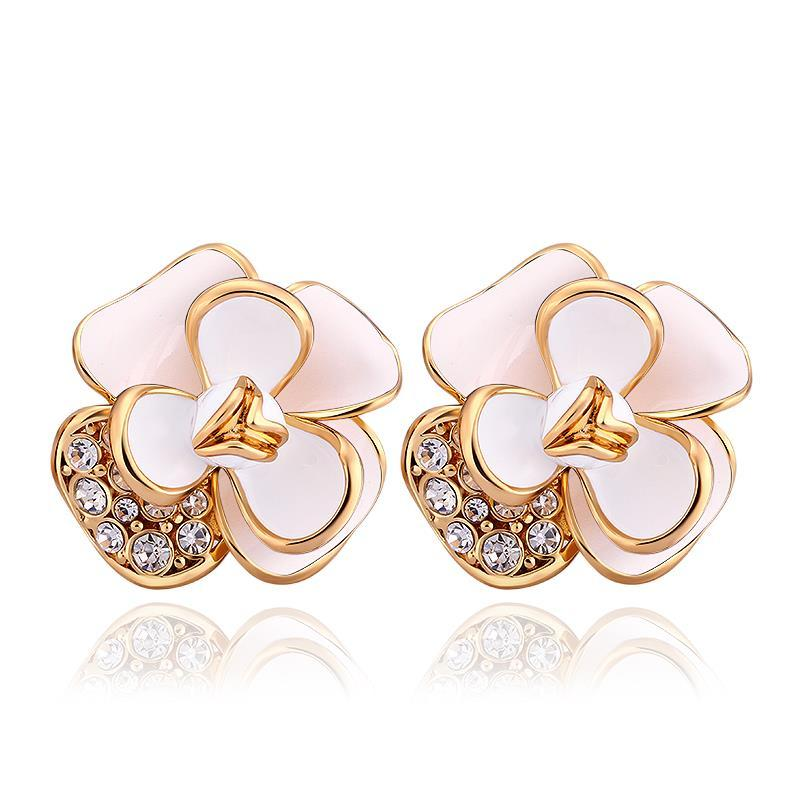 Vienna Jewelry 18K Gold Double Ivory Covering Floral Petal Stud Earrings Made with Swarovksi Elements