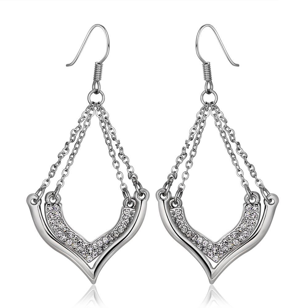 Vienna Jewelry 18K White Gold Changelier Style Drop Down Earrings Made with Swarovksi Elements