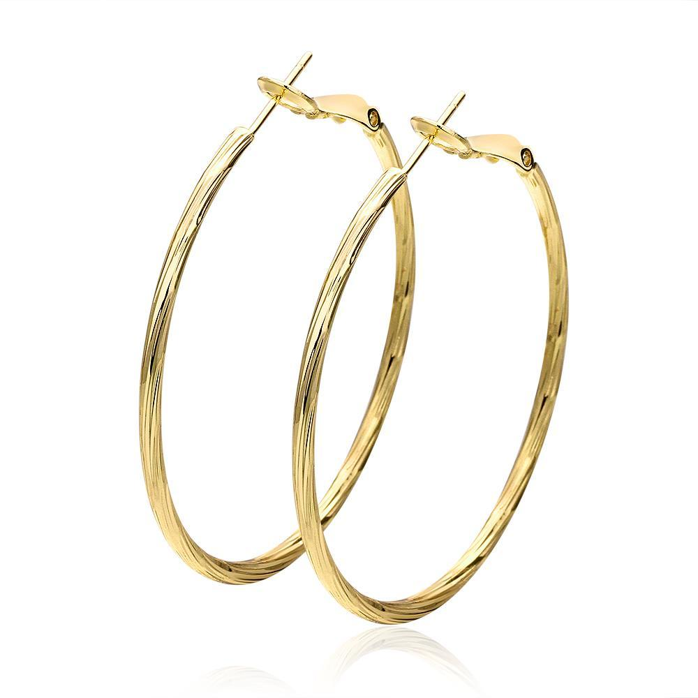 Vienna Jewelry 18K Gold Thin Lay Hoop Earrings Made with Swarovksi Elements