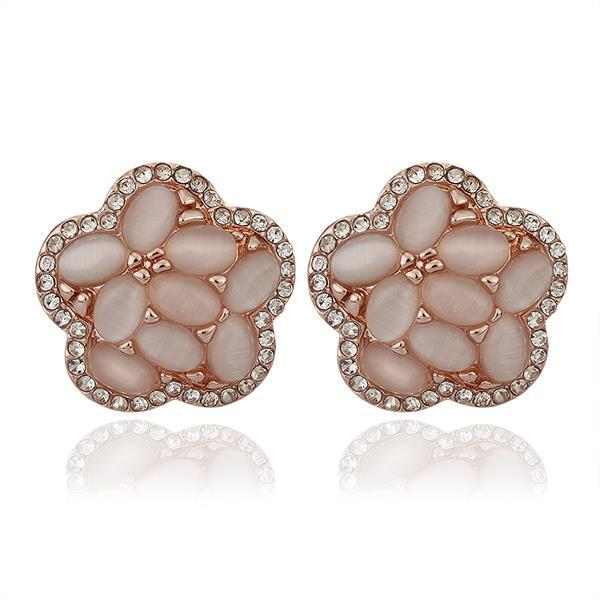 Vienna Jewelry 18K Rose Gold Flower Shaped Natural Gemstones Stud Earrings Made with Swarovksi Elements