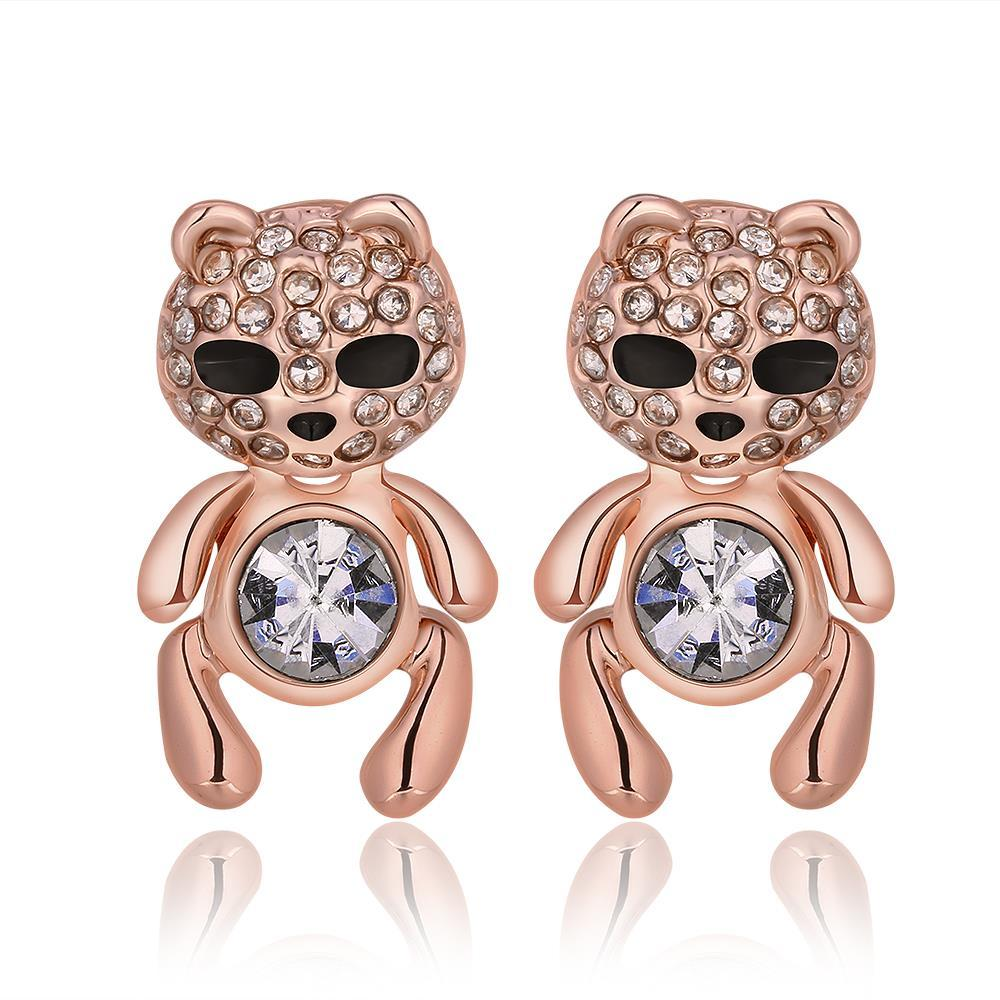 Vienna Jewelry 18K Rose Gold Petite Teddy Bear Stud Earrings Made with Swarovksi Elements