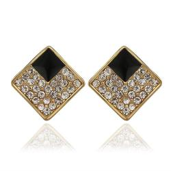 Vienna Jewelry 18K Gold Diamond Shaped Stud Earrings with Onyx Layering Made with Swarovksi Elements - Thumbnail 0