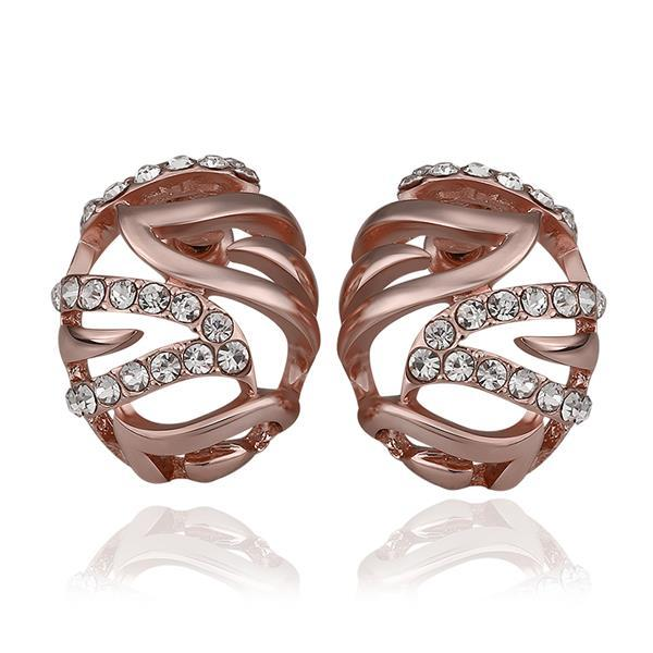 Vienna Jewelry 18K Rose Gold Laser Cut Emblem with Crystal Earrings Made with Swarovksi Elements