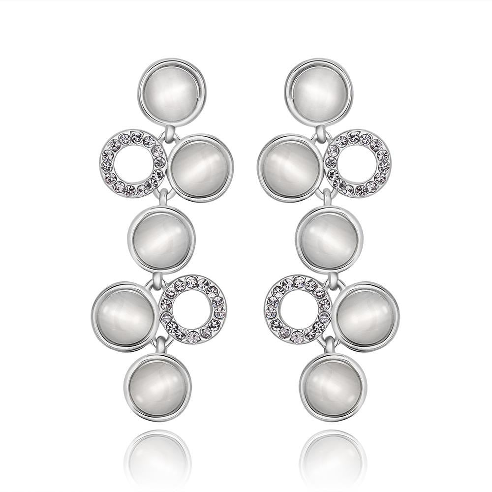 Vienna Jewelry 18K White Gold Petite Dangling Drop Down Earrings Made with Swarovksi Elements