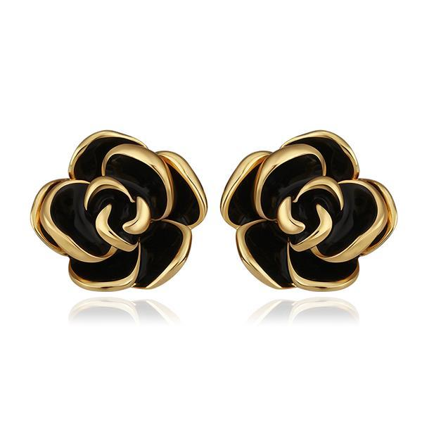 Vienna Jewelry 18K Gold Floral Petals with Onyx Inlay Made with Swarovksi Elements
