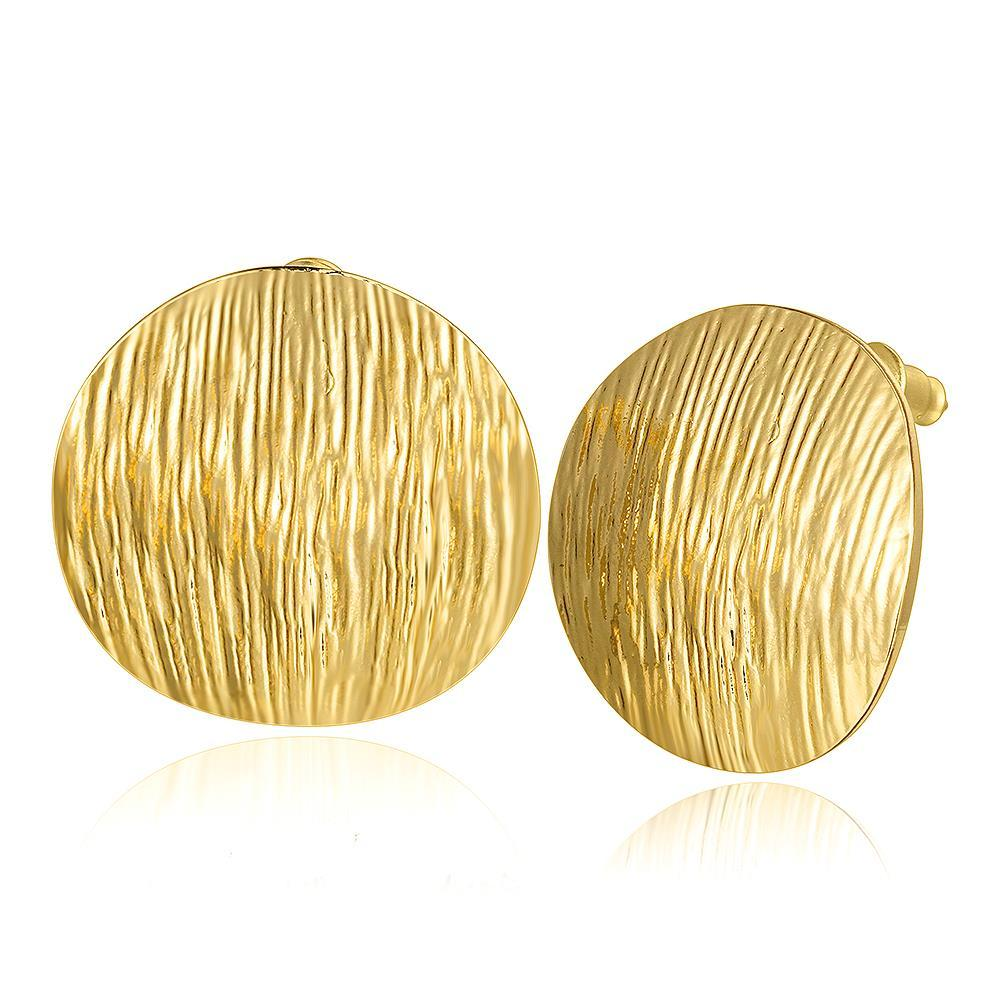 Vienna Jewelry 18K Gold Curved Surface Stud Earrings Made with Swarovksi Elements