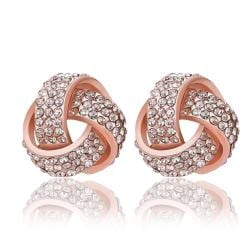 Vienna Jewelry 18K Rose Gold Intertwined Knots Covered with Jewels Made with Swarovksi Elements - Thumbnail 0