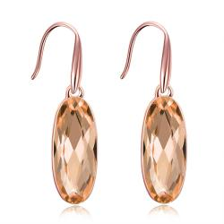 Vienna Jewelry 18K Rose Gold Plated Topaz Drop Earrings - Thumbnail 0