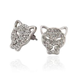 Vienna Jewelry 18K White Gold Hollow Jaguar Studs Made with Swarovksi Elements - Thumbnail 0