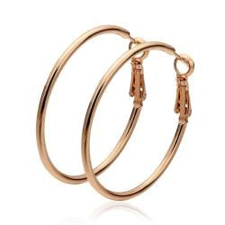Vienna Jewelry 18K Rose Gold Thick Lay Hoop Earrings Made with Swarovksi Elements - Thumbnail 0