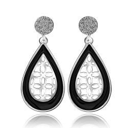 Vienna Jewelry 18K White Gold Laser Cut Acorn Shaped Drop Down Earrings Made with Swarovksi Elements - Thumbnail 0