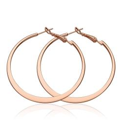 Vienna Jewelry 18K Rose Gold Classic New York Hoop Earrings Made with Swarovksi Elements - Thumbnail 0
